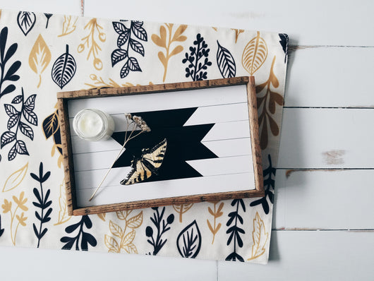 Serving Tray - White and Black Aztec