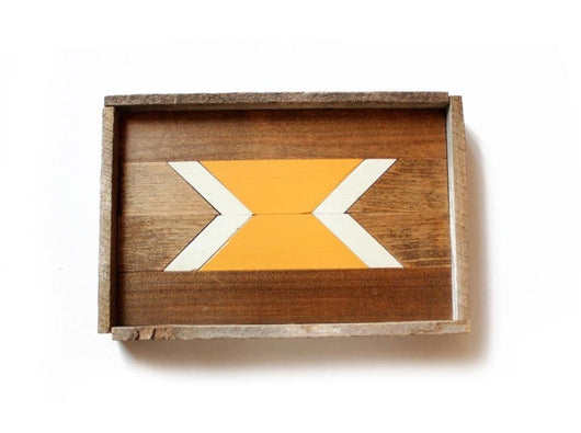 Reclaimed Wood Serving Tray - Mustard Arrow