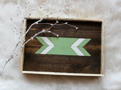 Reclaimed Wood Serving Tray - Seafoam Arrow