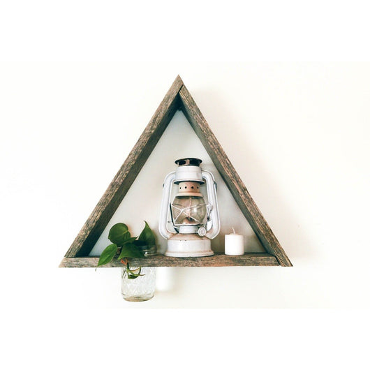 Reclaimed Barnwood Triangle Shelf with Mason Jar Planter