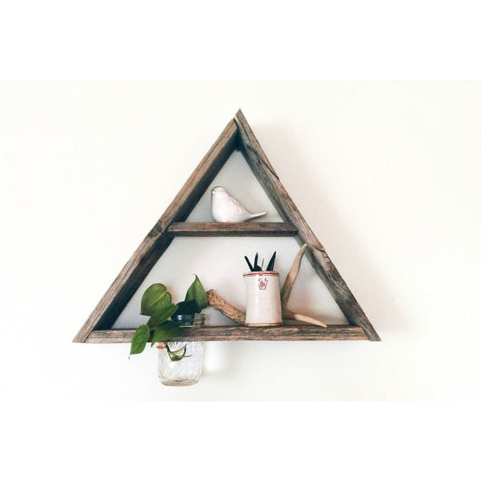 Reclaimed Barnwood Triangle Shelf with Mason Jar Planter - Center Shelf