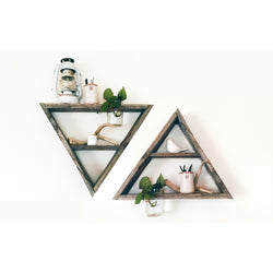 2 Reclaimed Barnwood Triangle Shelves with Mason Jar Planters - Center Shelf