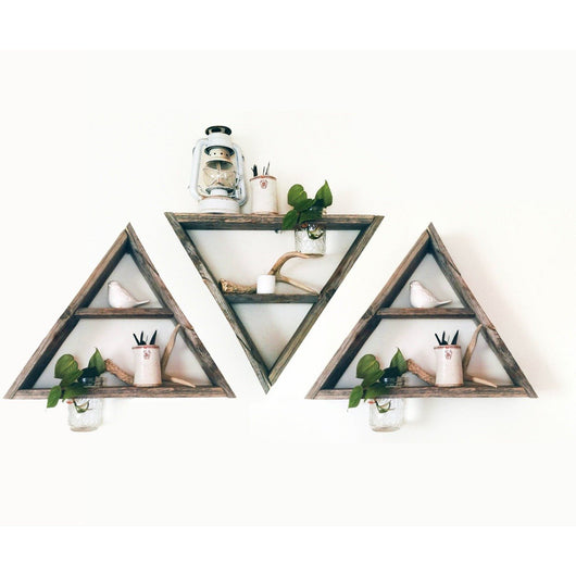 3 Reclaimed Barnwood Triangle Shelves with Mason Jar Planters