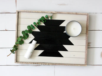 Reclaimed Wood Serving Tray - White and Black Aztec