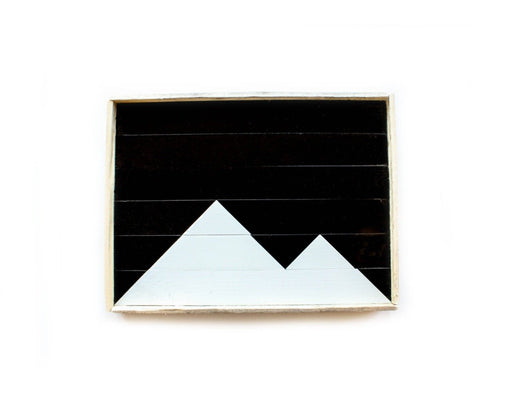 Reclaimed Wood Serving Tray - Black and White Mountains