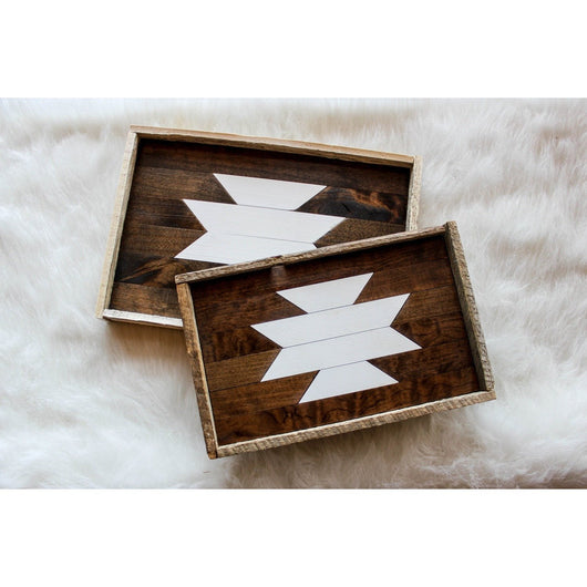 Set of 2 - Reclaimed Wood Serving Trays