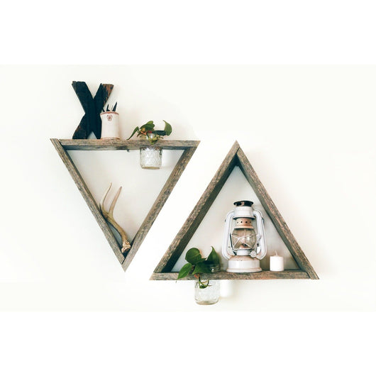 2 Reclaimed Barnwood Triangle Shelves with Mason Jar Planters