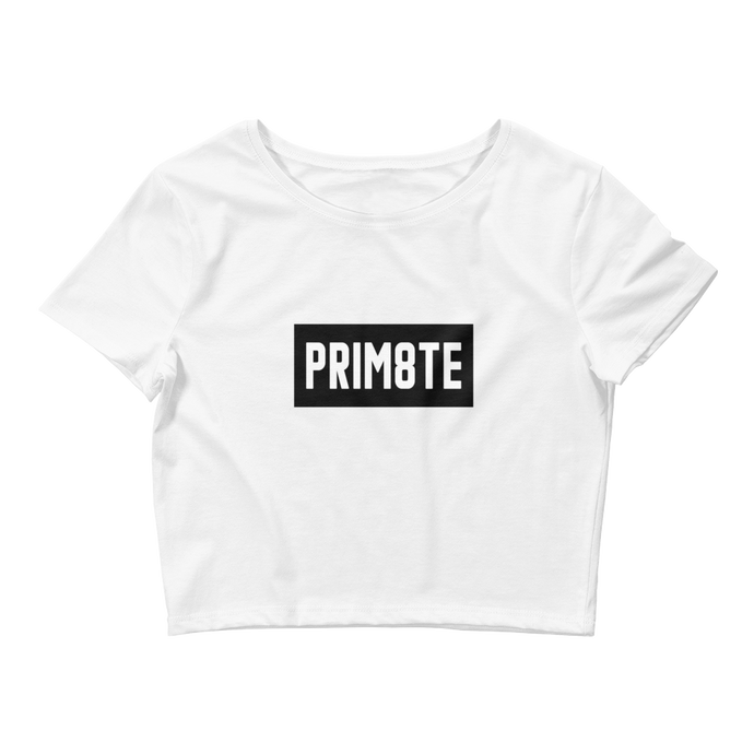 Prim8te Crop Tee (Black on White)