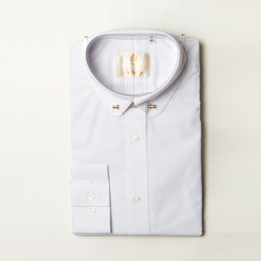 Dej White Curved Collar Shirt with Bar (Slim-Fit)