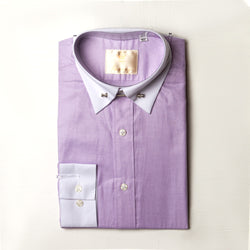 Dej Lilac Staight Collar Shirt with Bar. (Slim-Fit)