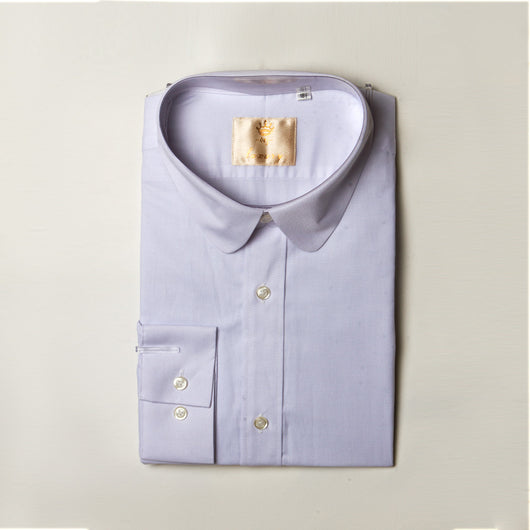 Dej White Curved Collar Shirt (Slim-Fit)