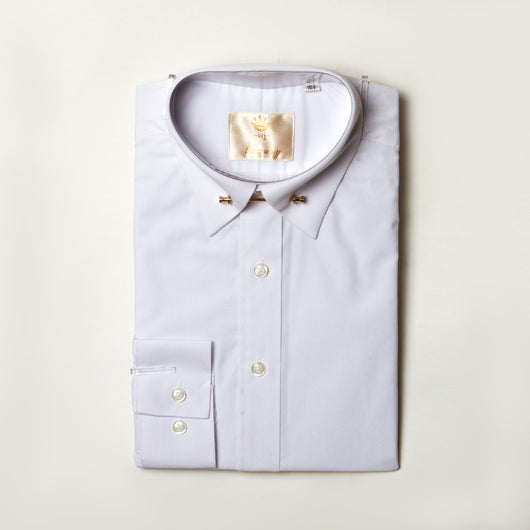 Dej White Straight Collar Shirt and Bar (Slim-Fit)