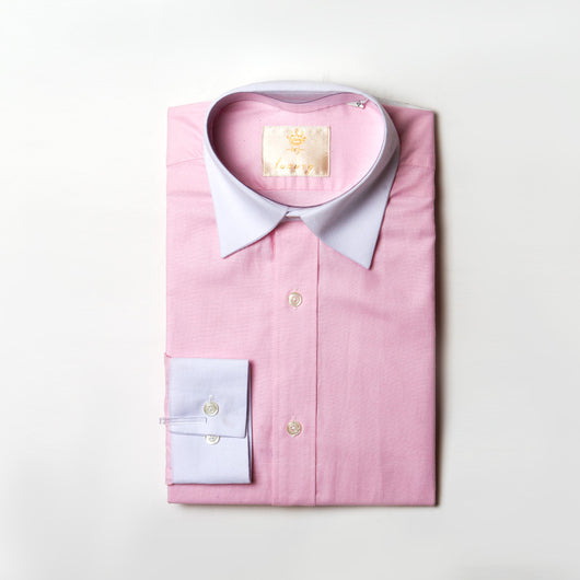 Dej Pink Contrast Straight Collar Shirt (Slim-Fit)