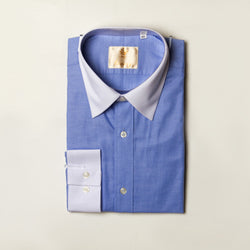Dej Blue Contrast Straight Collar Shirt (Slim-Fit)
