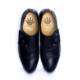 Dej Black Button and Elastic CapToe Shoes