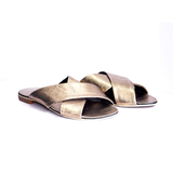 Dej Gold Femme Cross Slippers