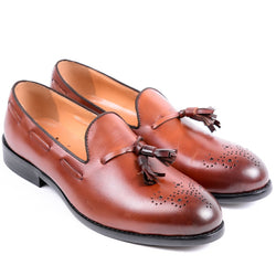 Dej Brown Medallion Tassel Loafers