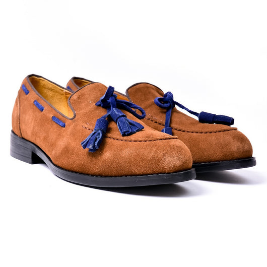 Dej Brown and Blue Nubuck Tassel Loafers