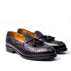 Dej Coffee Woven Tassel Loafers