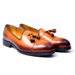 Dej Burnished Tan Medallion Tassel Loafers