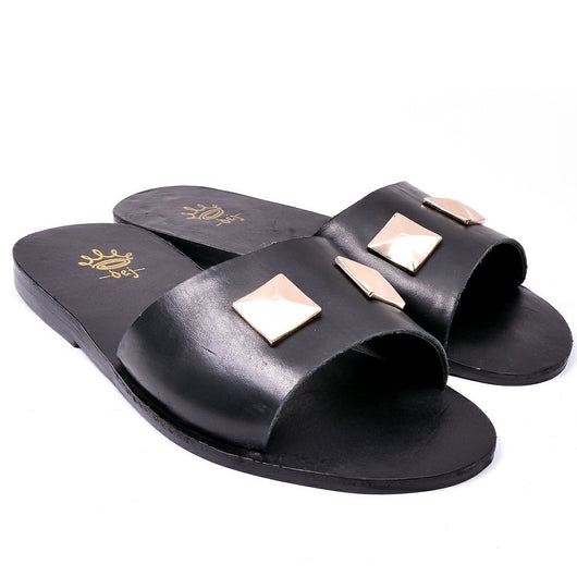 Dej Black Gold-Knob Slippers