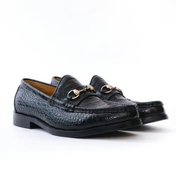Dej Black Croc HorseBit Loafers