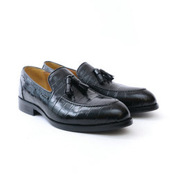 Dej Black Croc Tassel Loafers