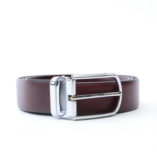 Dej Burgundy 3cm Silver Buckle Belt