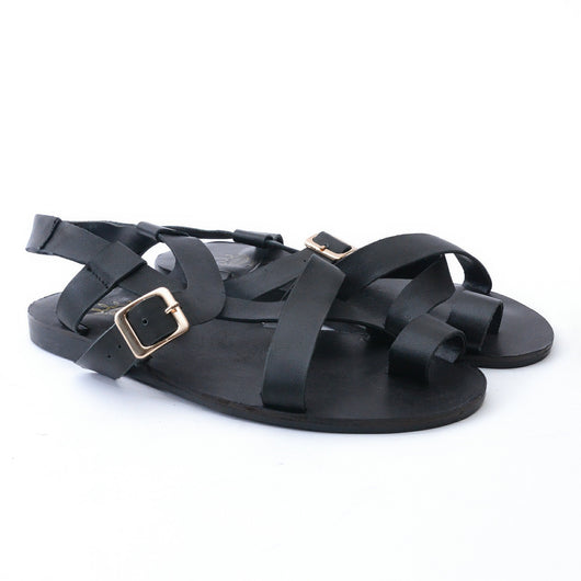 Dej Black Side Buckle Sandals