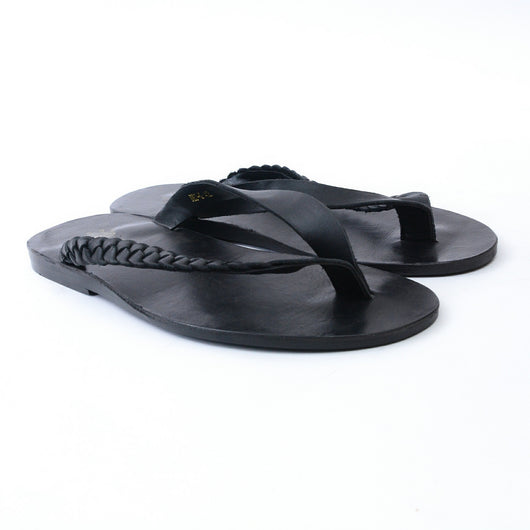 Dej Black Twist Thong Slippers