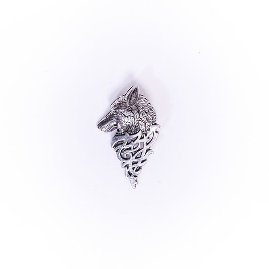 Stainless Wolf Head Brooch