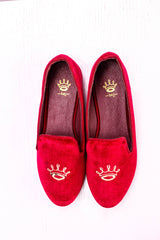 Dej Red Crested Velvet  Flats