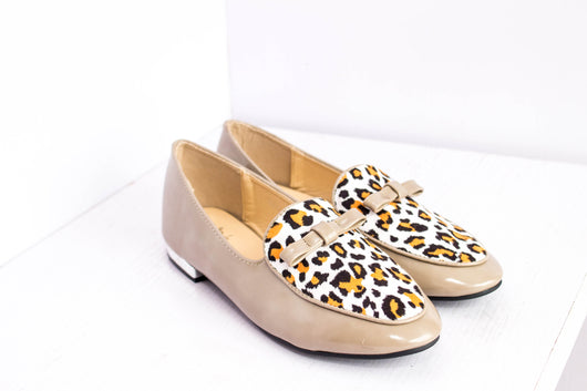 Dej Nude Patent and Leopard Flats