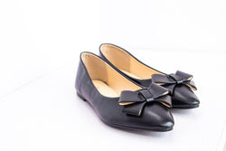 Dej Black Bow Pointed Flats