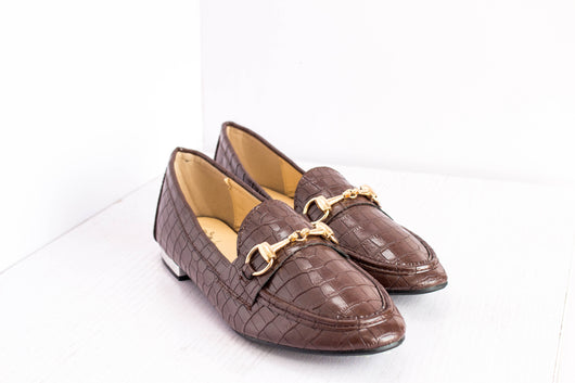 Dej Brown Croc HorseBit Flats