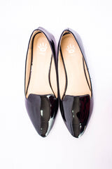 Dej Black Patent Pointed Flats