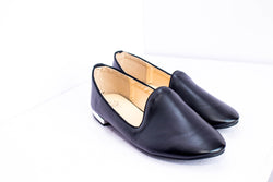 Dej Black Leather Flats