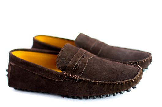 Dej Coffee Suede Penny Drivers