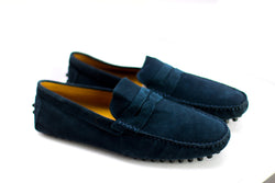 Dej Navy Blue Suede Penny Drivers