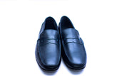 Dej Navy Blue Leather Penny Drivers