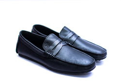 Dej Black Leather Penny Drivers