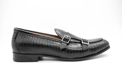 Dej Black Woven Double Monk Loafers