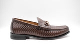 Dej Coffee Woven Horse bit Loafers