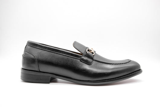 Dej Black Horsebit Grosgrain Loafers