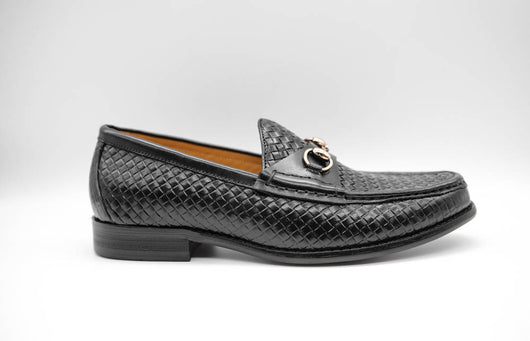 Dej Black Woven Horsebit Loafers