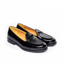 Dej Black Croc and Patent Belgian Loafers