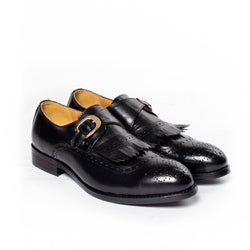 Dej Black Single Monk Fringed Brogues