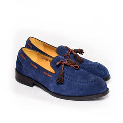 Dej Blue and Brown Suede Tassel Loafers