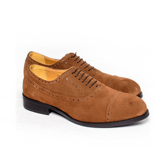 Dej Brown Suede Semi Brogues