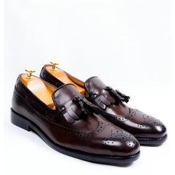 Dej Coffee LongWing Fringed Tassel Loafers